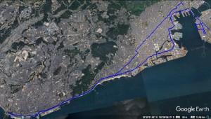 GPSのログデータによる今回走った軌跡